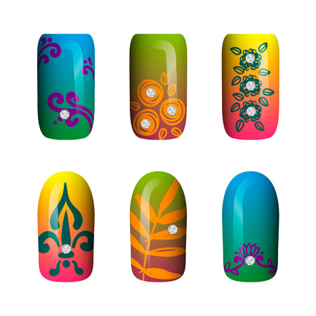 set of colored painted neon nail stickers. manicure art. nail polish. isolated on a white background.