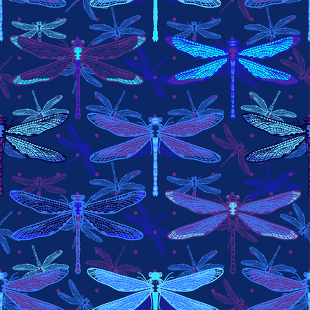 Hand drawn stylized dragonflies seamless pattern for girls, boys, clothes. Creative background with insect. Funny wallpaper for textile and fabric. Fashion style. Colorful bright.