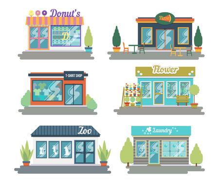 Conjunto de iconos de fachada de restaurantes y tiendas de diseño plano vectorial. Incluye tienda de donas y dulces, tienda de ropa, floristería, repostaje, lavandería y otros.
