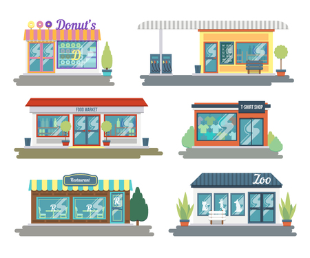 Set of vector flat design restaurants and shops facade icons. Includes shop of donuts and sweets, clothing store, flower shop, fueling, Laundry and other.