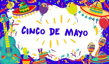 Cinco de Mayo Vector Poster Of Fiesta Elements. Mexican Attributes Sombreros, a Guitar, Cactus and decoration. Vector illustration.