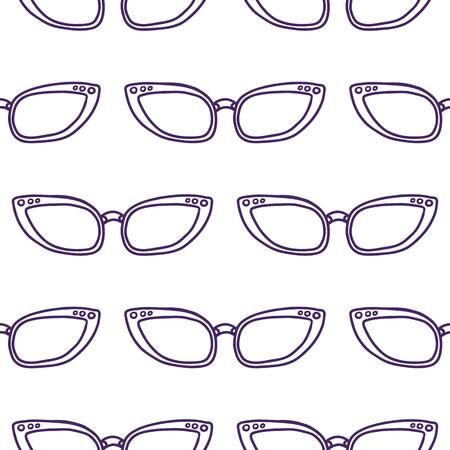 modello vettoriale senza cuciture disegnato a mano con occhiali da sole per ragazze, ragazzi, vestiti. Sfondo creativo con carta da parati estiva Doodle per tessuti e tessuti. Fashion style