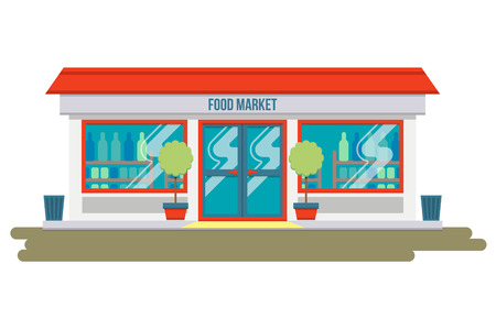 Farmers market. Flat design modern vector illustration concept. Concept front shop for design banner or brochure. Abstract image in a flat. Vector illustration isolated on white background