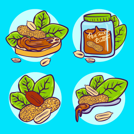 Peanut butter doodle vector icon set. Cartoon illustration set of peanut icons for web design. Nuts hand drawn emblems and labels