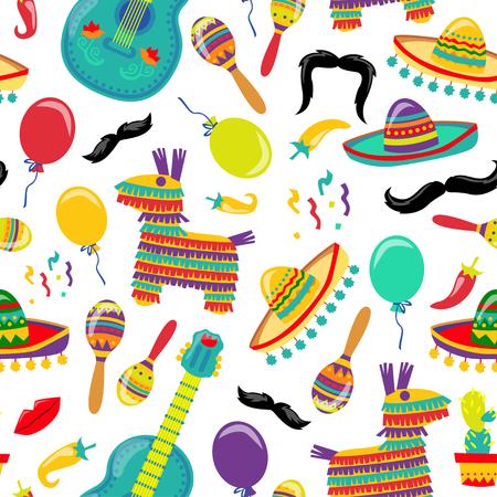 Cinco de Mayo Vector Seamles Pattern with Fiesta Elements. Mexican Attributes Sombreros, a Guitar, Cactus and decoration. Vector illustration. Illustration