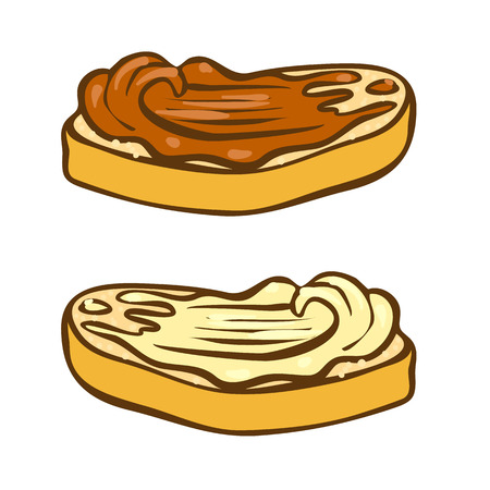 Peanut butter on bread doodle vector icon. Cartoon illustration of peanut icon for web design. Nuts hand drawn emblems and labels isoleted on white backgraund