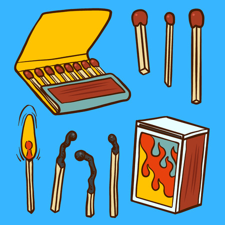 Safety match ignite burn icons set. Cartoon illustration of doodle Safety match vector icon for web isolated on white background. Ilustração