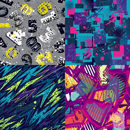 Abstract seamless vector pattern set for girls, boys, clothes. Creative background with dots, geometric figures Funny wallpaper for textile and fabric. Fashion style. Colorful bright.