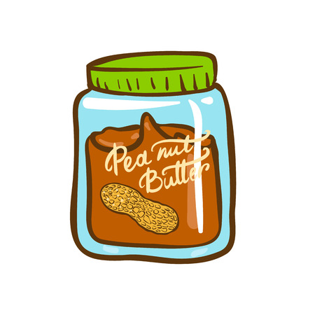 Peanut butter jar doodle vector icon. Cartoon illustration of peanut icon for web design. Nuts hand drawn emblems and labels isoleted on white backgraund Ilustrace