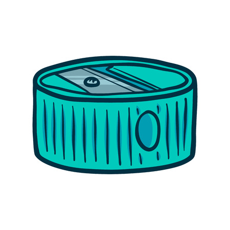 Hand Drawn Round Sharpener icon. Doodle illustration of sharpener vector icon for web design isolated on white background Ilustração