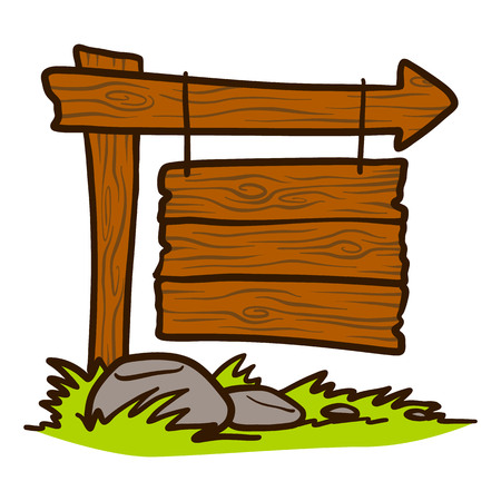 Doodle ikona szyld drewna. Ręcznie rysowane kreskówka z drewna szyld wektor ikona na projektowanie stron internetowych na białym tle. Ilustracje wektorowe