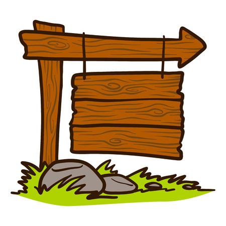 Icono de letrero de madera de Doodle. Dibujado a mano dibujos animados de letrero de madera icono vectoriales para diseño web aislado sobre fondo blanco. Ilustración de vector