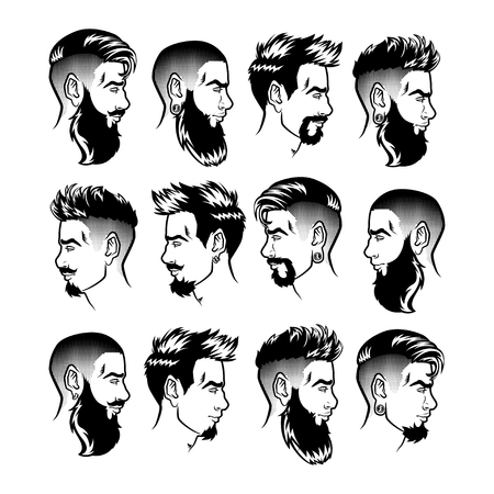 Zestaw wektor brodatych mężczyzn twarze profil biodrówki głowy z różnych fryzur, wąsów, brody. Sylwetki lub awatary, emblematy i ikony, etykiety. Ilustracje wektorowe