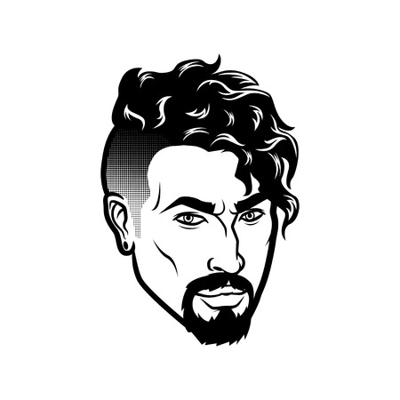 Vector bearded men face hipster head with haircuts, mustaches and beards. For Silhouettes or avatars, emblems and icons, labels