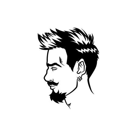 Vector bearded men face profile hipster head with haircuts, mustaches and beards. For Silhouettes or avatars, emblems and icons, labels.
