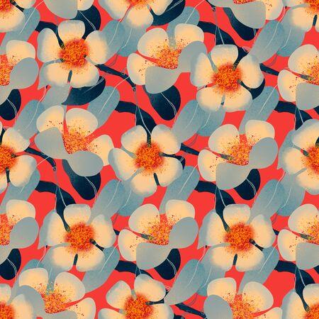 Vintage spring and summer blooming floral color seamless pattern Stok Fotoğraf