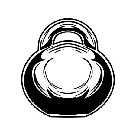 Kettlebell, exercising dumbbell silhouette black and white isolated illustration