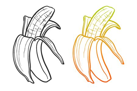 Bananas black and color gradient outline illustrations set Foto de archivo - 129135694