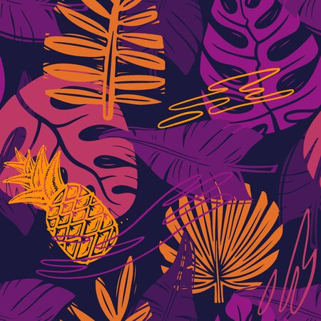 Abstract seamless vector tropical leaves pattern for girls, boys, clothes. Creative background with jungle. Funny botanical wallpaper for textile and fabric. Fashion style. Colorful bright