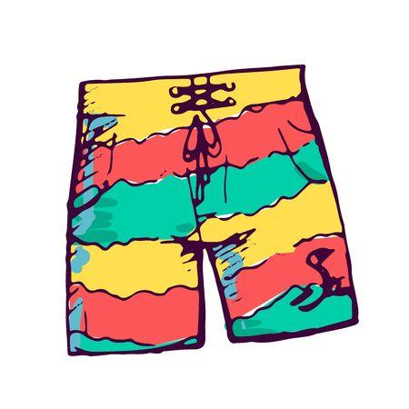 Short de bain homme couleur illustration dessinée à la main. Vêtements de plage d'été masculins isolés clipart croquis sur fond blanc. Élément de conception de maillots de bain à la mode. Griffonnage de vêtement d'été