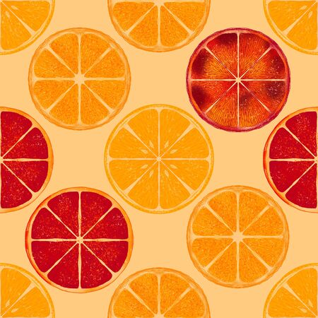 Grapefruit and lemon slices summer color seamless pattern. Citrus in cut on beige background. Juicy sicilian orange vintage texture. Botanical retro wallpaper, wrapping paper, textile design Фото со стока