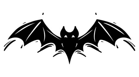 Bat with spread wings hand drawn silhouette illustration. Spooky flying flittermouse, creepy nocturnal creature monochrome grunge drawing. Halloween holiday, vampires superstition monocolor symbol Foto de archivo - 129136000
