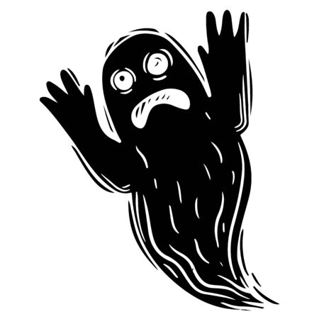 Creepy ghost hand drawn black silhouette illustration. Scary phantom, frightening poltergeist monochrome grunge drawing. Halloween horror, october holiday symbol. Flying spirit, fantasy monster Illusztráció