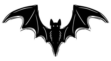 Bat with spread wings hand drawn silhouette illustration. Spooky flying flittermouse, creepy nocturnal creature monochrome grunge drawing. Halloween holiday, vampires superstition monocolor symbol Foto de archivo - 129136053