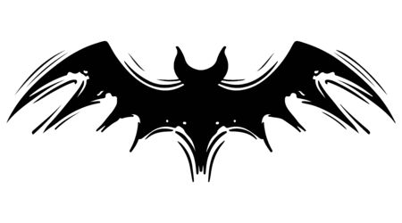 Bat with spread wings hand drawn silhouette illustration. Spooky flying flittermouse, creepy nocturnal creature monochrome grunge drawing. Halloween holiday, vampires superstition monocolor symbol