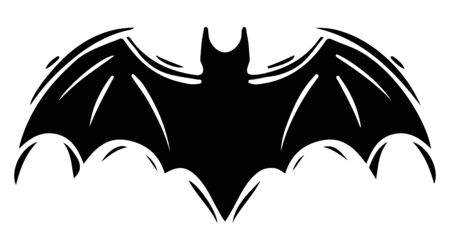 Bat with spread wings hand drawn silhouette illustration Foto de archivo - 129137125