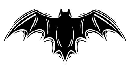 Bat with spread wings hand drawn silhouette illustration Foto de archivo - 129137120
