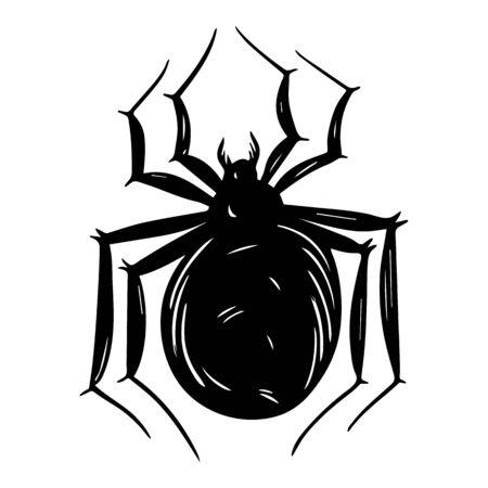Creepy sand spider hand drawn silhouette illustration