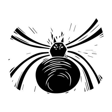 Cheiracanthium hand drawn ink black silhouette illustration Ilustração