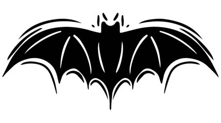 Bat with spread wings hand drawn silhouette illustration Foto de archivo - 129137170
