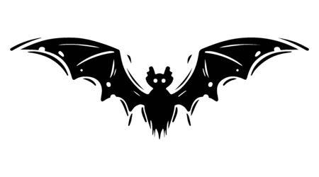 Bat with spread wings hand drawn silhouette illustration Foto de archivo - 129137179