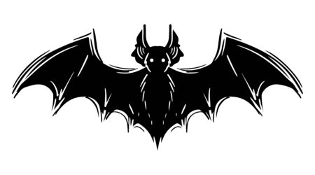 Bat with spread wings hand drawn silhouette illustration Foto de archivo - 129137183