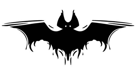 Bat with spread wings hand drawn silhouette illustration Foto de archivo - 129137192