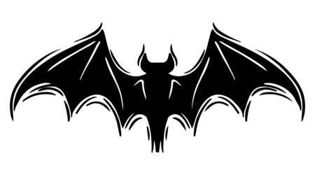 Bat with spread wings hand drawn silhouette illustration Foto de archivo - 129136766