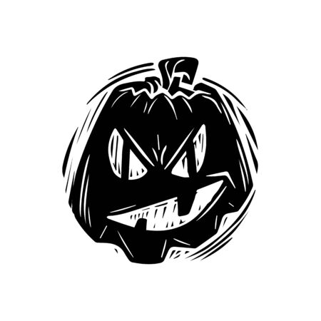 Smiling jack lantern hand drawn silhouette illustration. Festive pumpkin with evil grin monochrome drawing. Halloween celebration, october holiday symbol. Spooky gourd monocolor grunge sticker