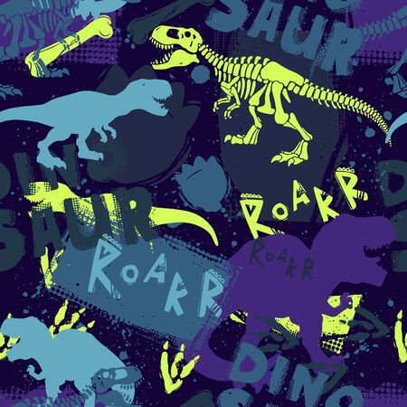 Dinosaur T rex color creative hand drawn seamless pattern. Roar, dino lettering on grunge backdrop. Prehistoric creature skeleton doodles background. Tyrannosaurus wallpaper, wrapping paper design