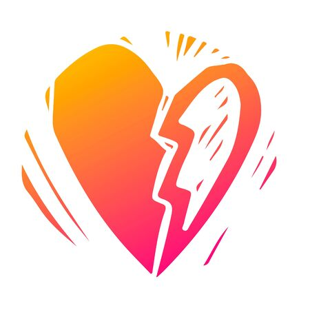 Broken heart abstract hand drawn silhouette illustration. Romantic relationship, marriage problem symbol isolated on white background. Couple breakup, separation, divorce. Loneliness and depression