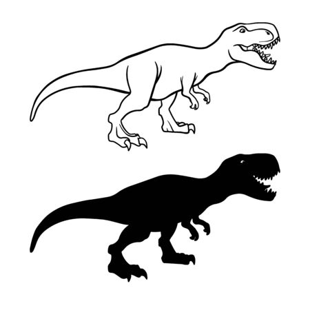 Tyrannosaurus rex outline and silhouette illustrations set. Dangerous dinosaur, extinct animal ink pen drawings.