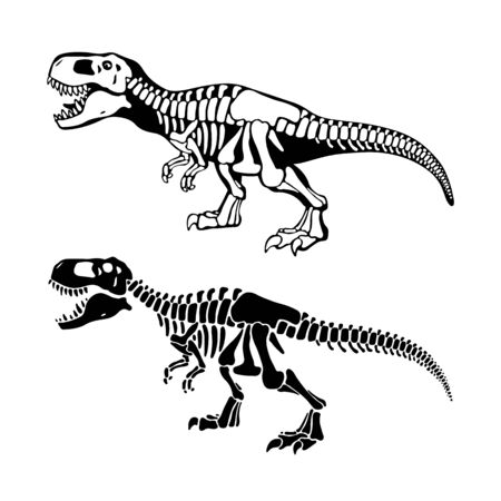 T rex dinosaurs bones negative space silhouette illustrations set. Prehistoric creatures isolated monochrome cliparts pack. Paleontology and archeology. Dangerous ancient predator design element