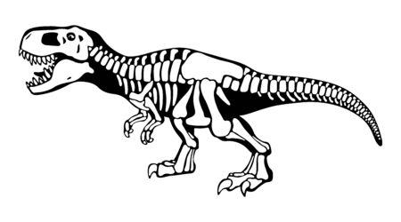 Os de tyrannosaure rex, illustration monochrome de squelette de dinosaure. Dessin noir et blanc de prédateur dangereux. Faune préhistorique, logotype de paléontologie. Exposition période jurassique, pièce de musée Logo