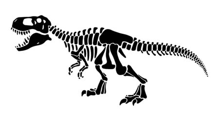 T rex scheletro di dinosauro spazio negativo silhouette illustrazione. Ossa di creature preistoriche isolate clipart monocromatiche. Predatore antico pericoloso, elemento di design fossile di tirannosauro Vettoriali