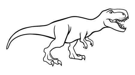 T rex dinosaur, dangerous extinct predator outline illustration. Prehistoric creature isolated monochrome clipart. Tyrannosaurus, carnivore jurassic period beast line art for coloring book
