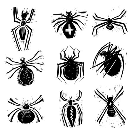 Scary spiders hand drawn silhouette illustrations set