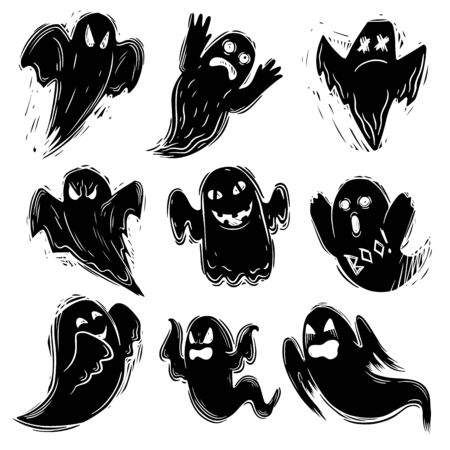 Set of Creepy ghost hand drawn black silhouette illustration