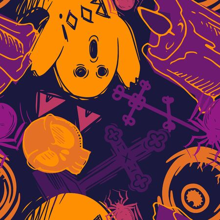 Abstract seamless halloween pattern for girls, boys, clothes. Creative background with scary lement. Funny wallpaper for textile and fabric. Fashion style. Colorful bright.