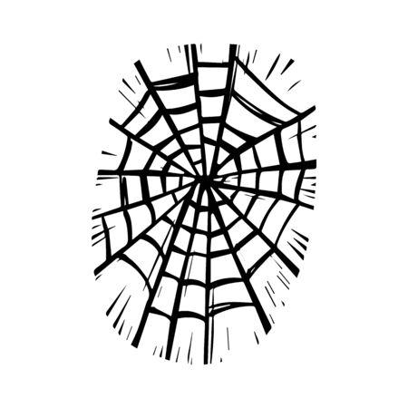 Woven spider web hand drawn monochrome illustration